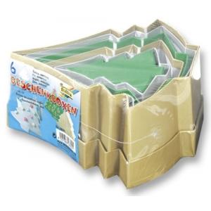 Dárkové krabičky z kartonu Vánoční stromečky barevné, 6ks mix velikostí