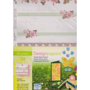 Designový papír 5 listů Květiny 8