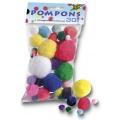 Pompony 30ks, mix velikostí a barev
