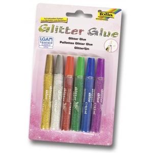 Glittrové lepidlo 6ks x 9,5ml - mix barev