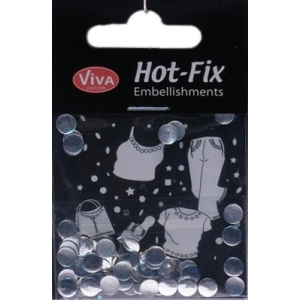 Hot-Fix nýtky Stříbrné ploché lesklé 6mm