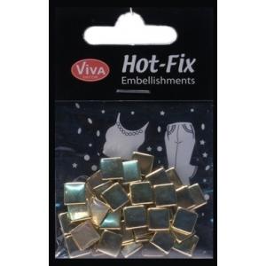 Hot-Fix nýtky Čtverečky zlaté 8mm