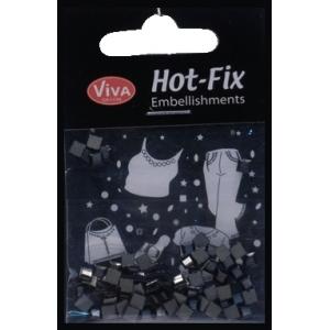 Hot-Fix kamínky Zrcadlové čtverečky černé 4mm