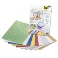 Kreativní karton 230g, 10 listů 23x33cm, Kopretinový vzor metallic mix 10 barev