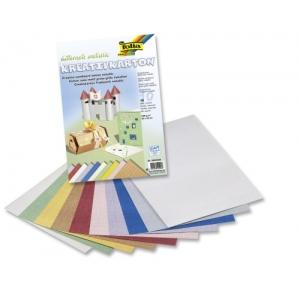 Kreativní karton 230g, 10 listů 23x33cm, Pletivo metallic mix 10 barev