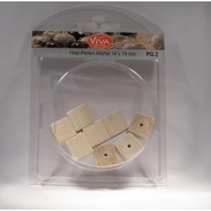Dřevěné korálky Kostičky 14x14mm