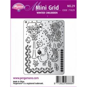 Pergamano mřížka Mini grid 29 Děti v zimě 1