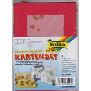 3 paspart. přáníčka 10,5 x 15cm transp. obálky červená medvídci