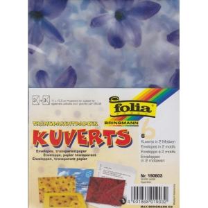 Transparentní obálky 11 x 15,5cm 3x pastelové proužky + 3x hyacinty
