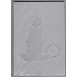 5 dvojlistých přáníček s výsekem svíčka + 5 obálek 10,8 x 15,5cm stříbrná