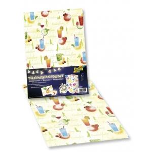 Transparentní papír 5 listů 115g 23x33cm Koktejl