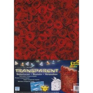 Transparentní papír 5 listů 115g 23x33cm Růže