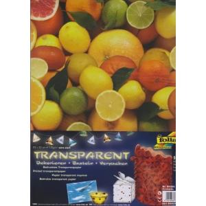 Transparentní papír 5 listů 115g 23x33cm Citrusy