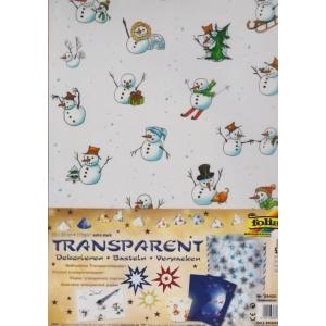 Transparentní papír 5 listů 115g 23x33cm Sněhuláci