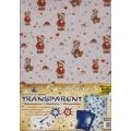 Transparentní papír 5 listů 115g 23x33cm Medvídci zlatočervení
