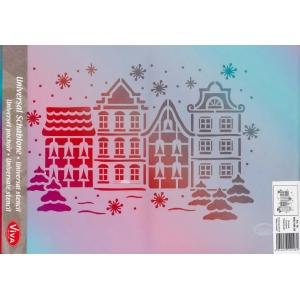Univerzální šablona A3 Zimní domy