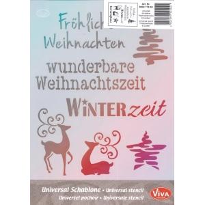 Univerzální šablona A4 Vánoční motivy + písmo (německy)