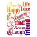 Univerzální šablona A3 Life, Love, Happy, Beauty