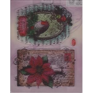 Transparentní silikonová razítka D91 Červenka a Vánoční hvězda
