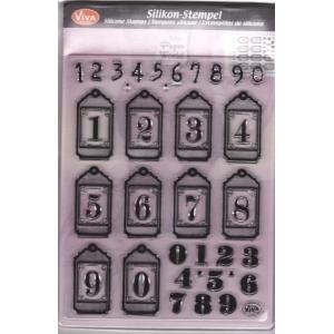 Transparentní silikonová razítka D135 Visačky číslice