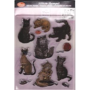 Transparentní silikonová razítka D140 Kočky