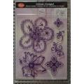 Transparentní silikonová razítka D33 Křížkový steh Květiny