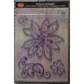 Transparentní silikonová razítka D34 Křížkový steh Květina a kudrlinka