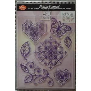 Transparentní silikonová razítka D35 Křížkový steh Srdce