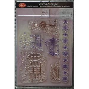 Transparentní silikonová razítka D67 Vánoční městečko