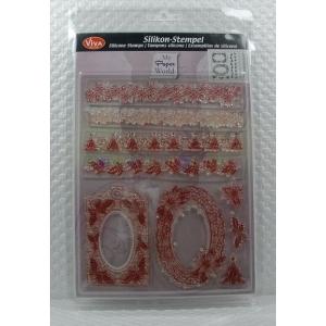 Transparentní silikonová razítka D9 Vánoční bordury a rámečky